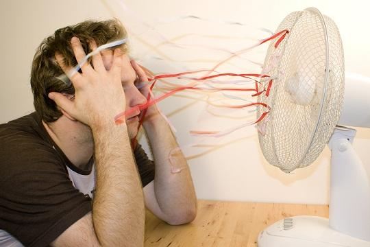 Man and ventilator